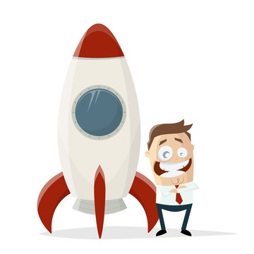 happy cartoon businessman standing in front of a space rocket