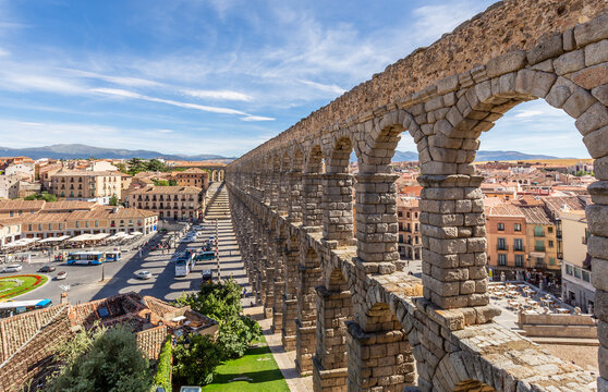 Roman aqueduct bridge and city panorama, Segovia, Spain