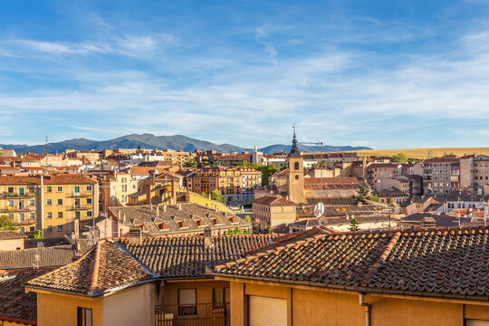 Historic city center panorama with mountains in the background, Segovia, Spain