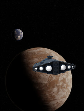 Light Spaceship Battle Cruiser Approaching a Red Planet, 3d digitally rendered science fiction illustration