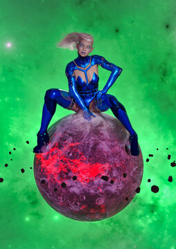 3D Photo of a Gigantic Female Alien Sitting on a Planet
