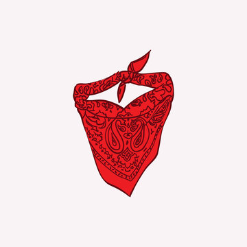 Red triangle bandana mask vector graphic illustration