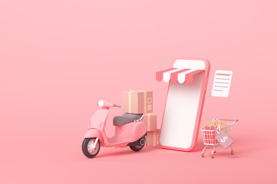 3D Online express delivery scooter service concept, fast response delivery by scooter, courier Pickup, Delivery, Online Shipping Services. 3d illustration