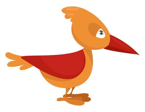 Yellow bird ,illustration, vector on white background