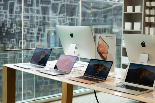 Bangkok, Thailand - September 14, 2020 : MacBook and iMac computers in an Apple authorized reseller shop.