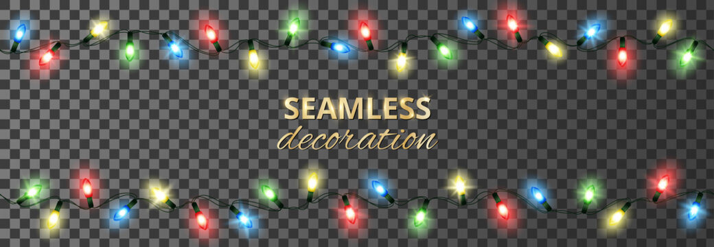 Seamless holiday decoration. Glowing christmas lights, isolated vector illustration. Celebration background with ornaments. For New Year banners, wedding or birthday cards, party posters.