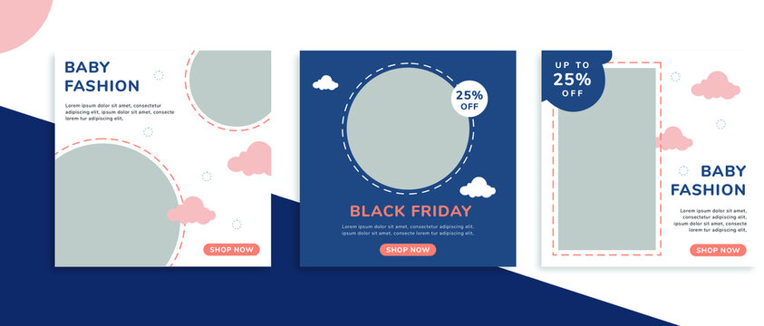 Set of editable square banner templates for Instagram post, Facebook square, for baby shop, kids shop, kids fashion, baby clothes, advertisement, and business. With simple blue and pink color. (3/3)