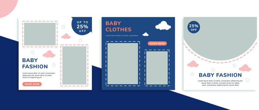 Set of editable square banner templates for Instagram post, Facebook square, for baby shop, kids shop, kids fashion, baby clothes, advertisement, and business. With simple blue and pink color. (1/3)