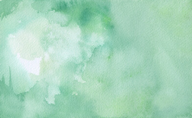 Wall Mural - green watercolor background painting on paper texture, pastel blue green colors in blotches and paint bleed design