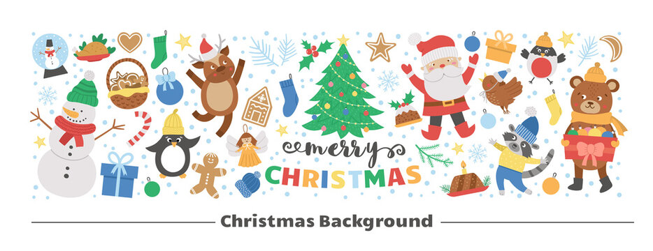 Vector horizontal layout frame with Christmas elements. Traditional New Year party clipart set. Funny design for web banners, posters, invitations. Cute winter holiday card template..