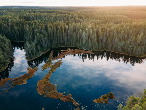 Aerial view to Finnish landscape in Nuuksio national park.