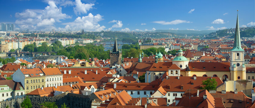 Prague cityscape panorama, view of the old town Prague, Czech Republic