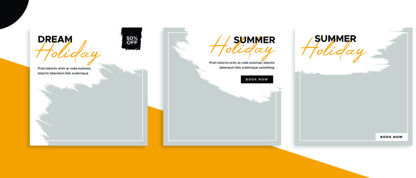 Set of editable square banner templates for Instagram post, Facebook post, for corporate, company, tour tourism, advertisement, and business. With simple white and orange color. (3/3)
