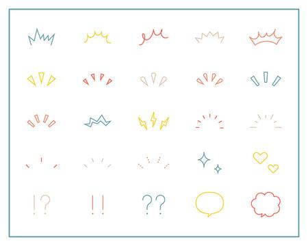 気づき線、注目マークのセット/イラスト/アイコン/ポイント/集中/驚き/飾り/装飾/理解/シンプル
