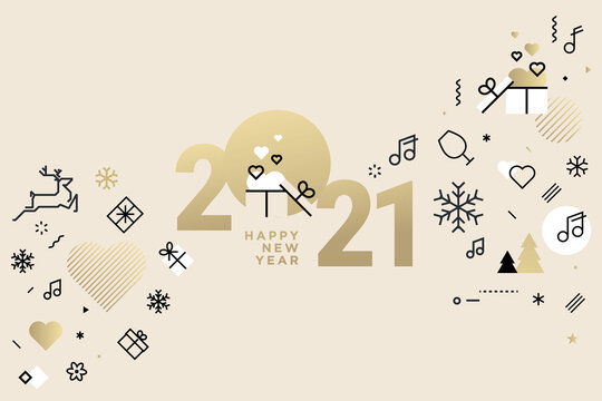Happy New Year 2021. Vector illustration concept for background, greeting card, website and mobile website banner, party invitation card, social media banner, marketing material.