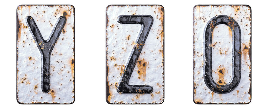 3D render set of capital letters Y, Z and number 0 made of forged metal on the background fragment of a metal surface with cracked rust.
