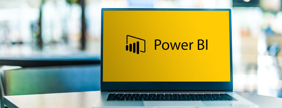 Laptop computer displaying logo of Microsoft Power BI