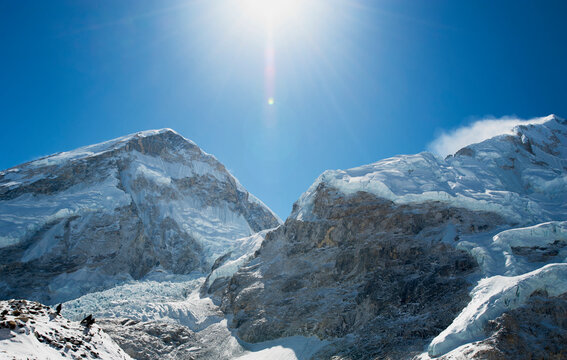 Snow covered mountains and view of the Khumbu Icefall.