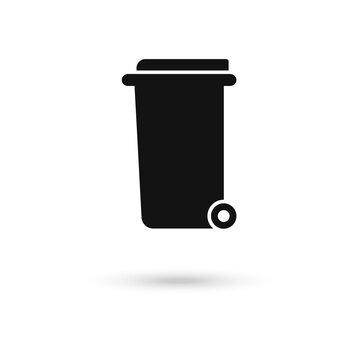 Trash can on wheels icon, flat design icon