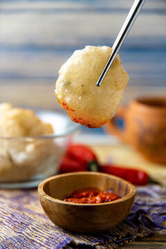 Cireng, Cilok or Aci Goreng, Indonesian Traditional Street Food like Rujak from Bandung West java Indonesia made of fried dough starch or tapioca flour
