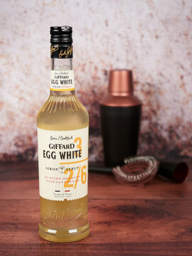 Bucharest, Romania - July 26, 2020: Giffard pasteurized egg white syrup, an ingredient for frothy, foamy cocktails such as whiskey, gin, pisco, or amaretto sour