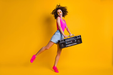 Full length photo of attractive lady listen music hold retro boom box chill students party event...