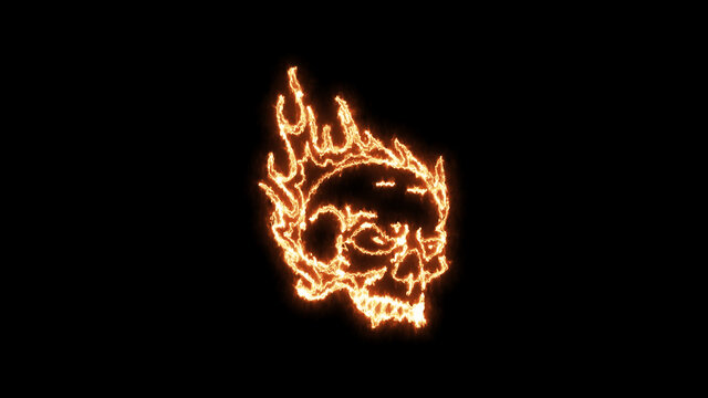 Fire burning skull. Devilish Skull burning Hell with scary, Halloween, horror concept. Royalty high-quality free stock photo image fire flames burn over a devilish skull on a black background