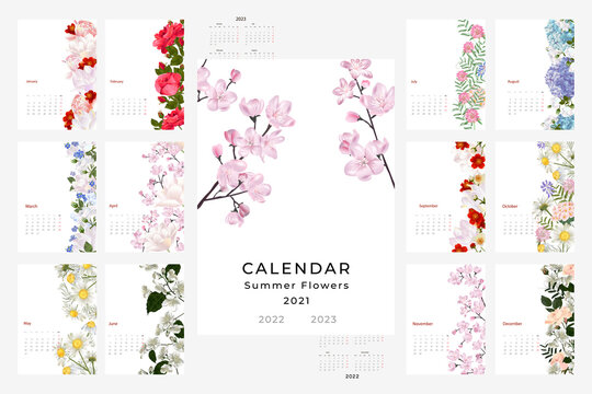 2021, 2022, 2023 calendar template with a floral theme