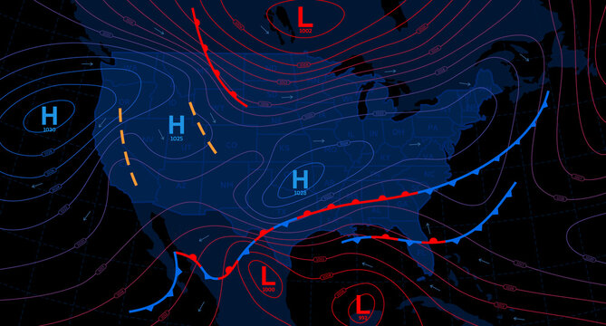 Weather forecast map. Meteorological concept on dark backgrounds. Vector illustration.