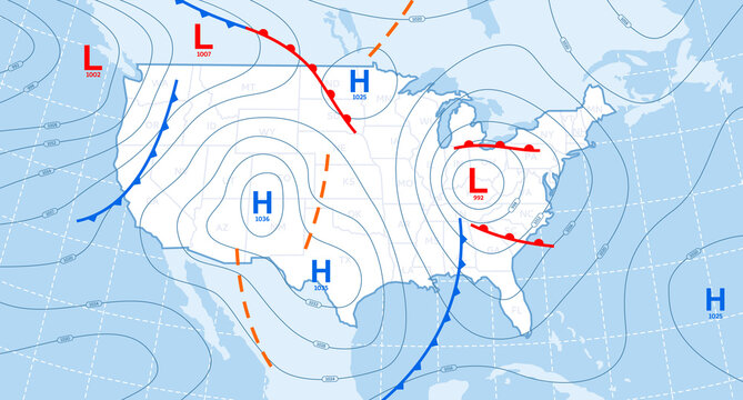 Weather forecast map. Meteorological concept on blue backgrounds. Vector illustration.