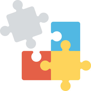 One broken piece of a jigsaw puzzle flat icon