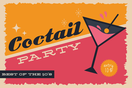 cocktail cup drink in poster retro style