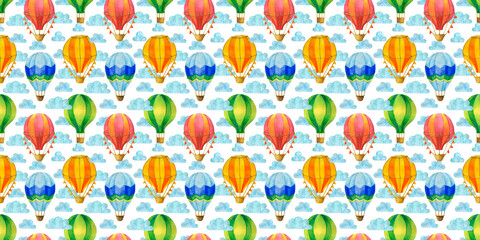 Multicolored hot air balloon watercolor seamless pattern