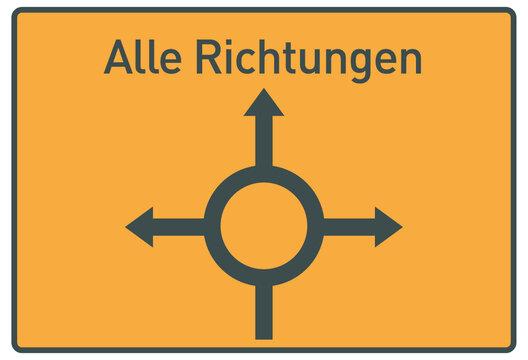 Vorwegweiser, Kreisverkehr, Alle Richtungen