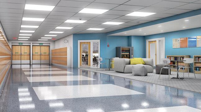 Long school corridor with orange lockers and rest zone, 3d illustration