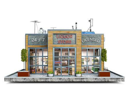 Front view on a modern liquor store building on a piece of ground, 3d illustration