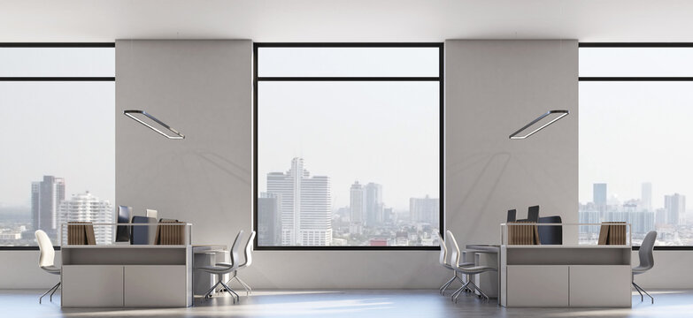 City view from big windows in modern loft style office