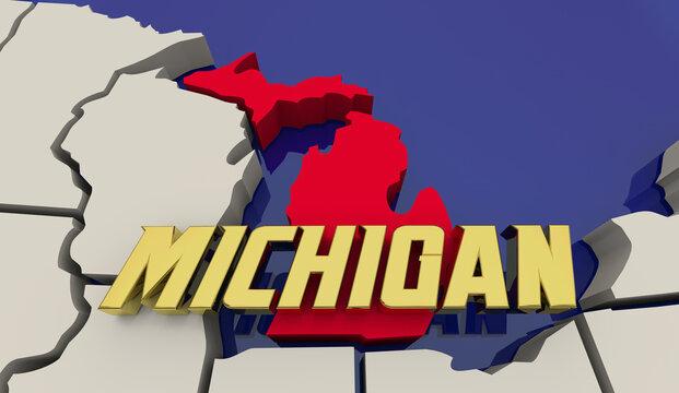 Michigan Map Red White Blue United States America USA Render 3d Illustration