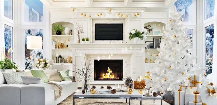 Living room interior with christmas tree, fireplace, sofa and many gifts