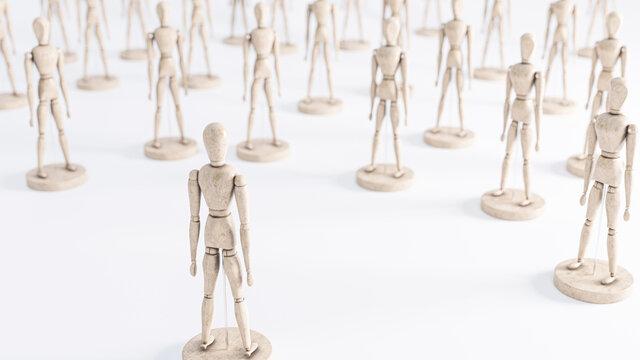 Konzept Gegner, Außenseiter, Feinde oder Anführer