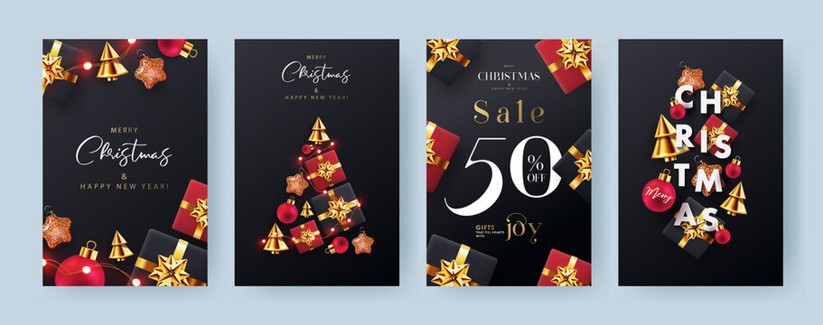 Christmas and New Year Set of backgrounds, greeting cards, sale posters, holiday covers, web banners. Xmas modern 3d design in golden, black and red colors with realistic gifts, balls, garlands lights