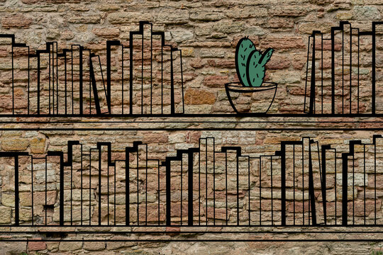 Collection of books on a bookshelf and a green cactus in a flower pot hand drawning  and hanging on an old brick wall
