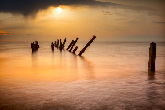 Old Sea Defences at Sunrise