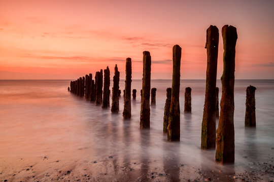Old Sea Defence Posts at Sunrise