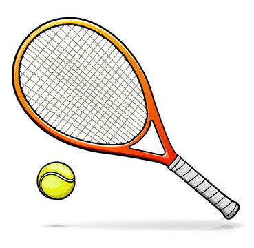 Vector tennis racquet illustration cartoon