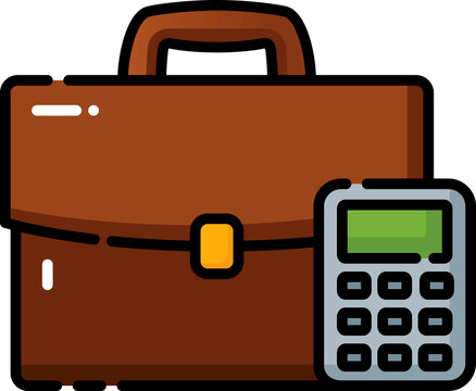 Briefcase With Calculator Filled Outline Icon