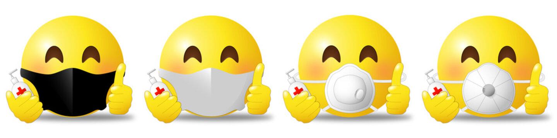 Stop Covid emoji set with mask and respirator