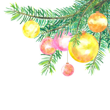 bright watercolor christmas balls with golden glitter