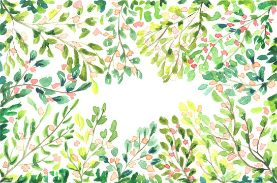 abstract watercolor  tree branches with flowers