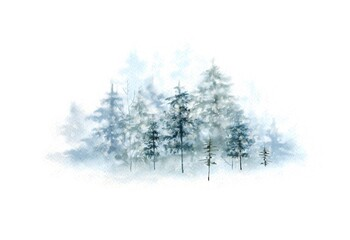 watercolor christmas illustration winter forest, hand painted nature winter holidays on white background